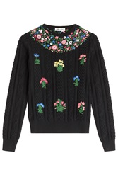 Valentino Floral Cableknit Pullover Florals