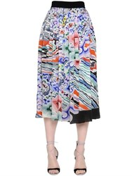 Mary Katrantzou Rainbow Cloud Printed Georgette Skirt