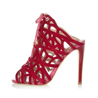River Island Womens Red Suede Caged Tie Up Heels