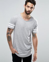 Only And Sons Longline T Shirt With Arm Stripes Curved Hem Grey White