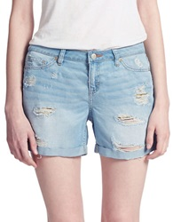 Dittos Distressed Denim Boyfriend Shorts Blue