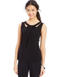 Nine West Sleeveless Cutout Twist Front Top Black
