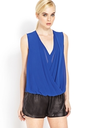 Forever 21 Draped Surplice Top Royal