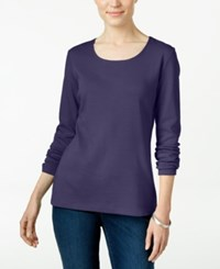 Karen Scott Long Sleeve Scoop Neck Top Only At Macy's Cassis