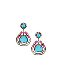 Bavna Turquoise Composite Ruby And Diamond Drop Earrings