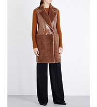 Max Mara Double Breasted Shearling Gilet Tobacco