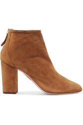 Aquazzura Downtown Suede Ankle Boots Tan