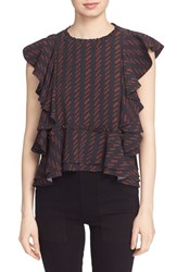 Apiece Apart Women's Ruffle Sleeve Top Navy Hatch Print
