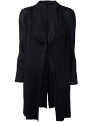 Issey Miyake Pleats Please By Pleated Draped Ligthweight Coat Black