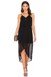 Bobi Black Mixed Chiffon Wrap Dress