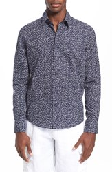 Vilebrequin 'Caracal' Regular Fit Turtle Print Sport Shirt Navy