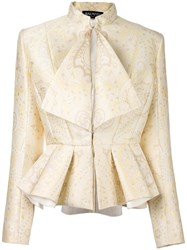 Balmain Pleated Detail Paisley Jacket Nude Neutrals