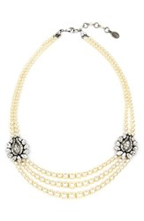 Women's Ben Amun Faux Pearl And Crystal Station Necklace
