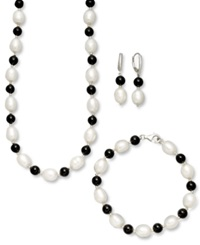 Macy's Sterling Silver Jewelry Set Cultured Freshwater Pearl And Onyx Necklace Earring And Bracelet Set
