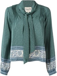 Sea Pussy Bow Neck Blouse Green