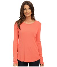 Dylan By True Grit Long Sleeve Cotton Tee With Soft Knit Side Panel Vintage Punk Pink Women's T Shirt Orange