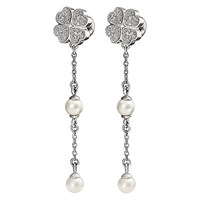 Folli Follie Eternal Heart Coated Shell Drop Earrings Silver