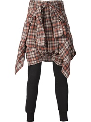 R 13 R13 Tied Shirt Short And Legging Combo Brown