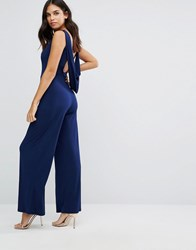 Love Cowl Back Tailored Jumpsuit Navy
