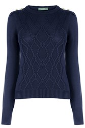 Oasis Military Cable Knit Navy