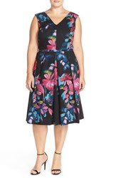 Plus Size Women's Adrianna Papell Floral Print Cotton Faille Fit And Flare Dress