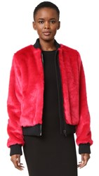 Msgm Faux Fur Bomber Jacket Red