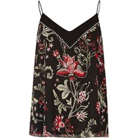 River Island Womens Black Floral Print Studded Cami Top