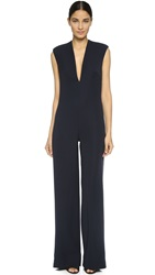 Monique Lhuillier V Neck Jumpsuit Midnight
