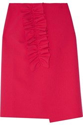 Msgm Asymmetric Ruffled Stretch Crepe Wrap Skirt Pink