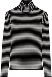 La Ligne Striped Ribbed Knit Turtleneck Sweater Black