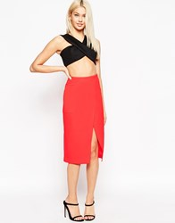 Asos Wrap Skirt In Neon With Oversized Pockets Neonpink