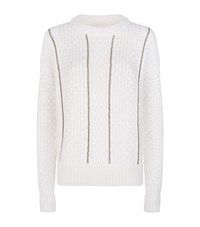 Michael Michael Kors Chain Detail Cable Knit Jumper Female Ivory