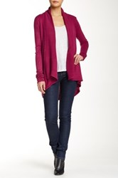 Colour Works Shawl Collar Open Front Cardigan Red