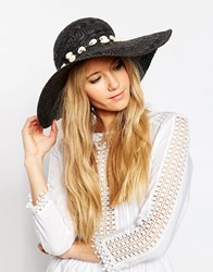 Asos Straw Texture Floppy Hat With Shell Trim Black