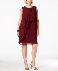 Sl Fashions Plus Size Asymmetrical Layered Chiffon Dress Burgundy