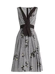 Marc Jacobs Floral Flocked Gingham A Line Dress Black White