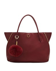 Louise Et Cie Elin Leather And Real Rabbit Fur Tote Rosewood