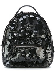 Versace Small Palazzo Medusa Sequined Backpack Black