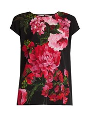 Dolce And Gabbana Peony Print Silk Blend Charmeuse Top Black Print