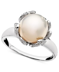 Belle De Mer Sterling Silver Ring Cultured Freshwater Pearl 10Mm And Diamond Accent Flower