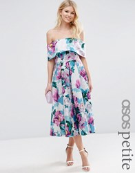 Asos Petite Off The Shoulder Midi Prom Dress In Bright Purple Floral Multi