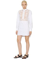 Valentino Cotton Poplin And Pique Dress With Lace