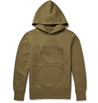 Visvim Printed Loopback Cotton Blend Jersey Hoodie Green