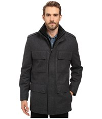 Marc New York Litchfield Pressed Wool Four Pocket Field Jacket With Inset Knit Bib Charcoal Men's Coat Gray