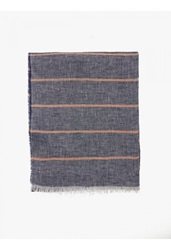Jil Sander Men's Navy Striped Linen Scarf