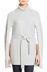 Women's Halogen Belted Turtleneck Poncho Heather Grey