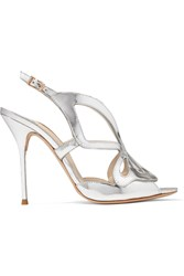 Sophia Webster Madame Butterfly Mirrored Leather Sandals Silver