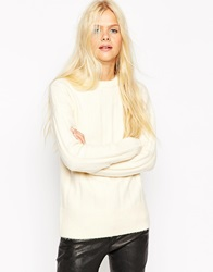 Asos Jumper With Padded Neck In Rib Cream