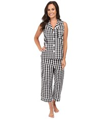 Bedhead Sleeveless Cropped Bottom Pajama Set Black Gingham Women's Pajama Sets