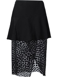 Cedric Charlier Lace Inset Pencil Skirt Black